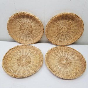 4 Wicker Rattan Paper Plate Holders Camping BBQ